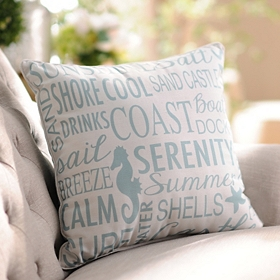 Aqua Coastal Reversible Pillow