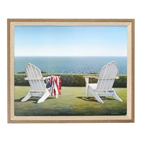Patriotic Beach House Framed Art Print