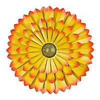 Yellow Metal Flower Wall Plaque