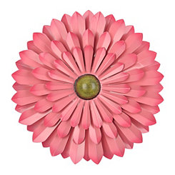 Pink Metal Flower Wall Plaque