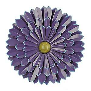 Purple Metal Flower Wall Plaque