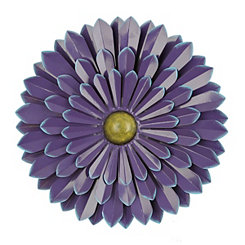 Purple Metal Flower Wall Plaque