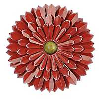 Red Metal Flower Wall Plaque