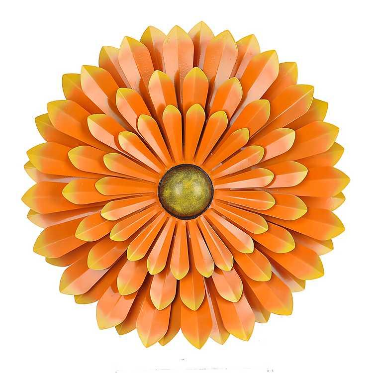 orange metal flower wall plaque kirklands. Black Bedroom Furniture Sets. Home Design Ideas