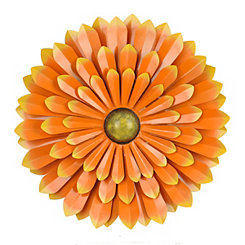 Orange Metal Flower Wall Plaque