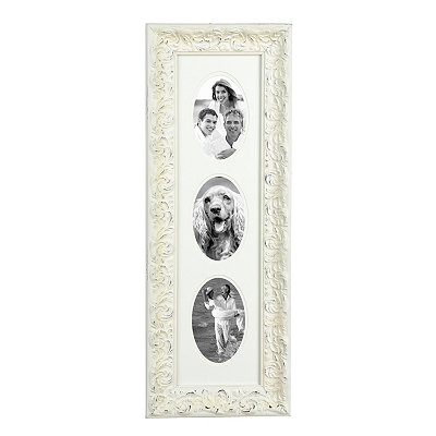 Distressed 3-Opening White Harlow Collage Frame