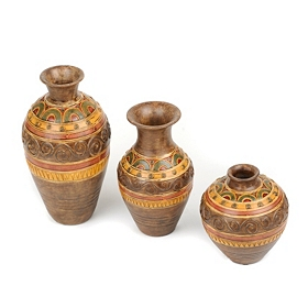 Earth Tone Resin Vases, Set of 3