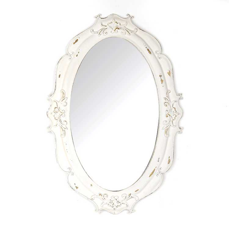 Vintage white oval decorative mirror kirklands for White framed decorative mirror