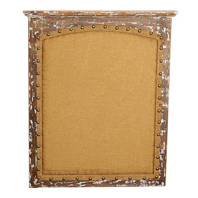 Antiqued Wood & Linen Memo Board