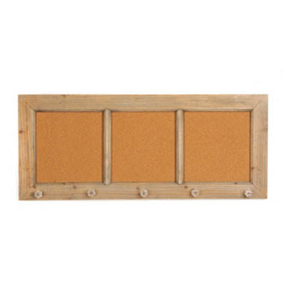 Triple Corkboard with Crystal Knobs