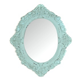 Vintage Aqua Oval Decorative Mirror
