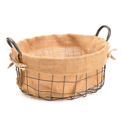 Metal and Burlap Basket, Small