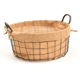 Metal and Burlap Basket, Medium
