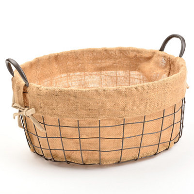 Metal and Burlap Basket, Large
