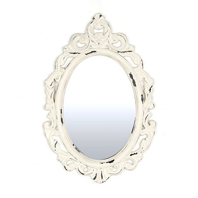 Vintage White Oval Decorative Mirror