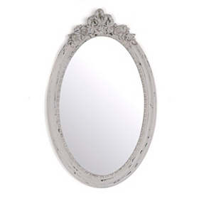 Vintage Gray Oval Decorative Mirror