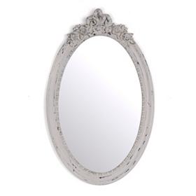 Vintage Gray Oval Decorative Mirror
