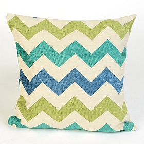 Blue and Green Chevron Pillow