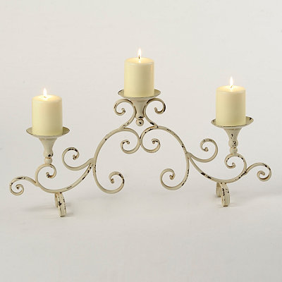 Antiqued Ivory Candle Runner
