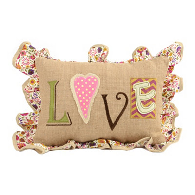 Burlap Patchwork Love Pillow