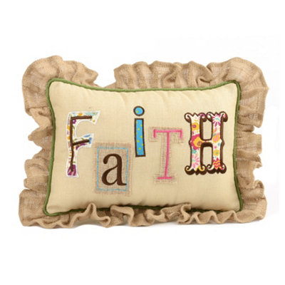 Burlap Patchwork Faith Pillow