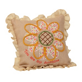 Burlap Patchwork You Are My Sunshine Pillow
