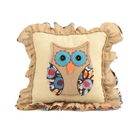 Burlap Patchwork Owl Pillow