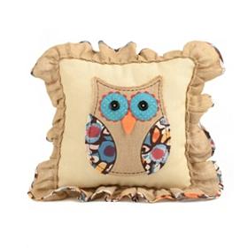 Burlap Patchwork Owl Pillow