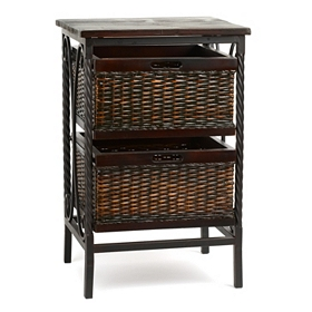 Espresso Wicker Basket Accent Table