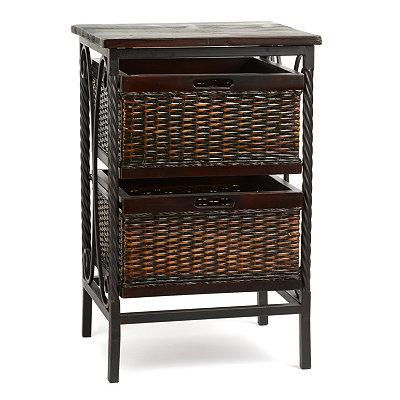 Espresso Wicker Basket Accent Table
