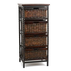 Wicker 4-Drawer Storage Chest