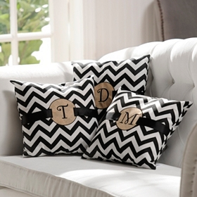 Burlap Monogram Chevron Accent Pillow