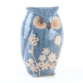 Indigo Floral Owl Statue