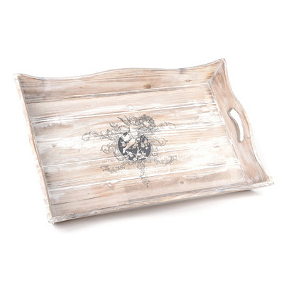 Wooden White-Wash Serving Tray