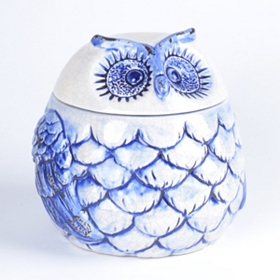 Hand-Painted Cobalt Owl Jar