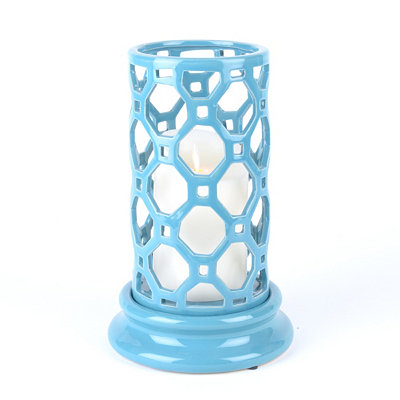 Blue Geometric Cut-Out Candle Holder, 10 in.