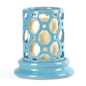 Blue Geometric Cut-Out Candle Holder, 6 in.