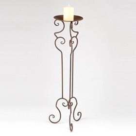 Rustic Curved Floor Candle Holder, 32in.