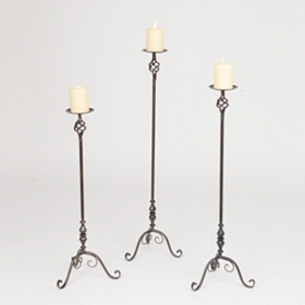 Lattice Floor Pillar Candle Holders, Set of 3