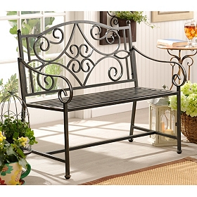 Black Scroll Metal Bench