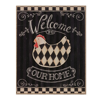 Checkered Chicken Welcome Wall Plaque