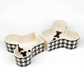 Houndstooth Bone Dog Dish