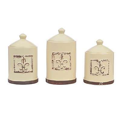 Embossed Cream Fleur-de-lis Canisters, Set of 3