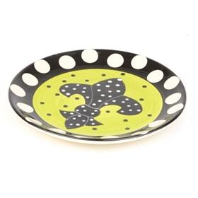 Polka Dot Fleur-de-lis Plate