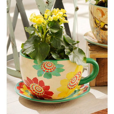 Bright Blossoms Teacup Planter