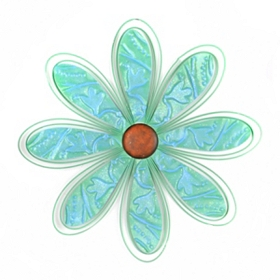 Turquoise Metal Daisy Wall Plaque