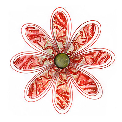 Red Metal Daisy Wall Plaque