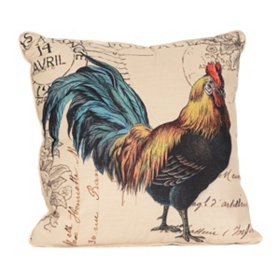 Faux Linen Rooster Throw Pillow