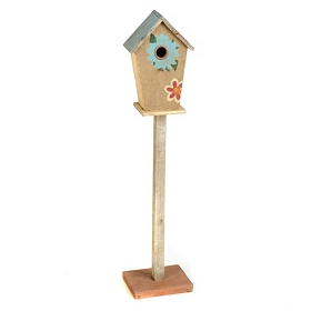 Burlap Flower Wood Birdhouse