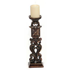 Antiqued Bronze Scroll Candlestick, 16 in.